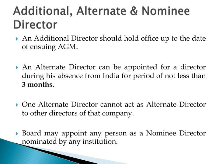 Additional, Alternate & Nominee Director