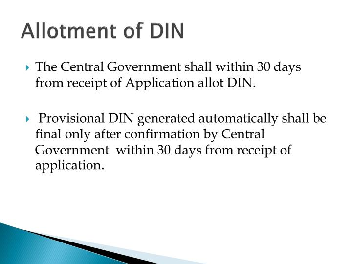 Allotment of DIN