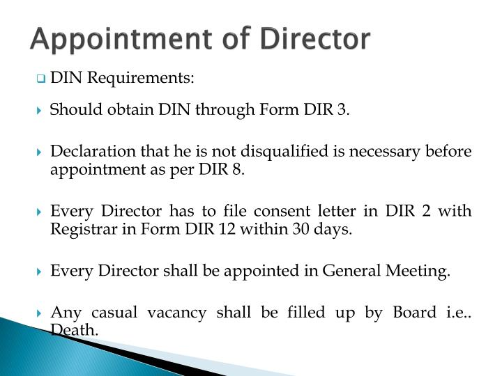 Appointment of Director