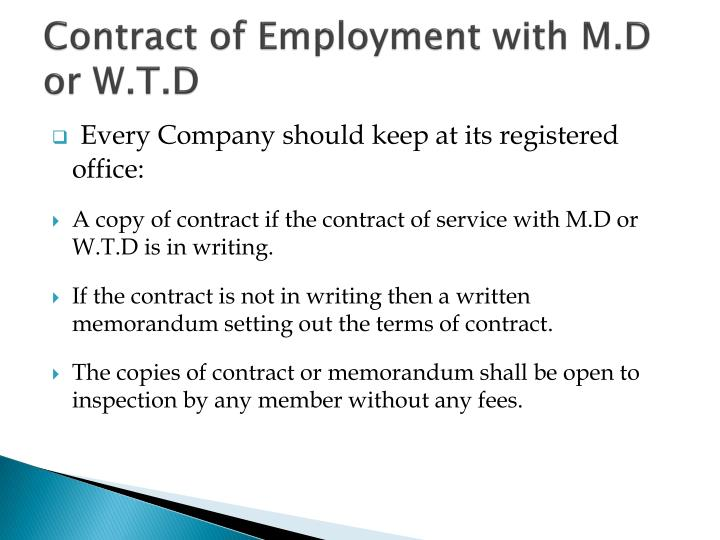 Contract of Employment with M.D or W.T.D