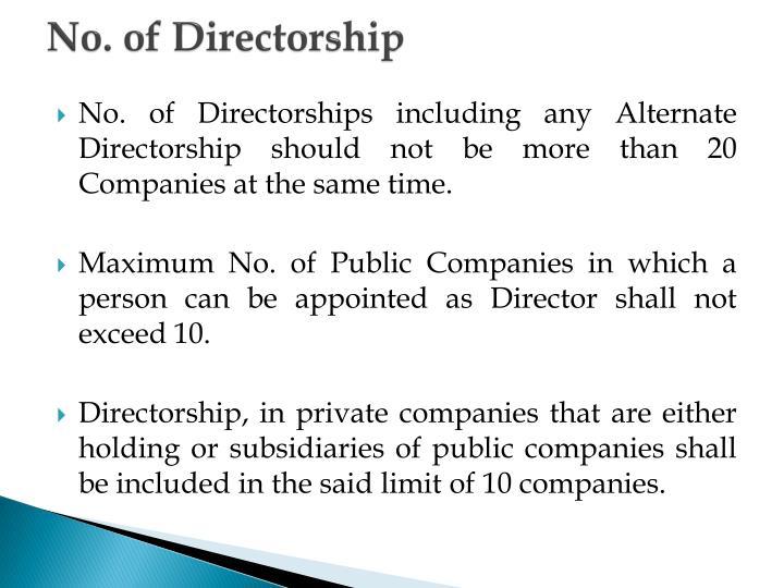 No. of Directorship