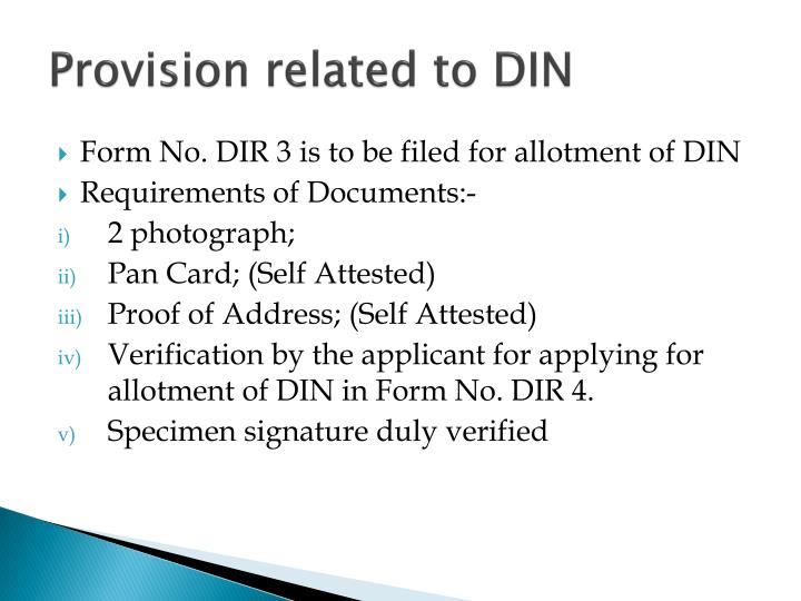 Provision related to DIN