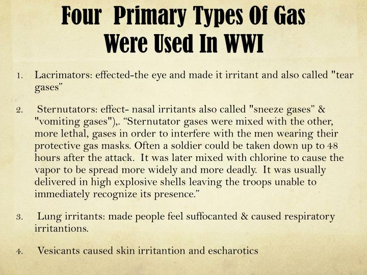 Four  Primary Types Of Gas Were Used In WWI