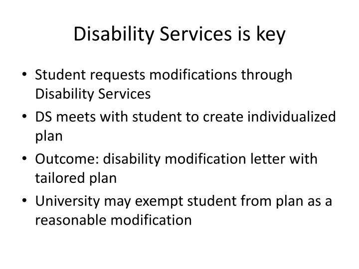 Disability Services is key