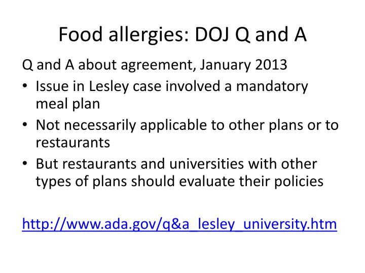 Food allergies: