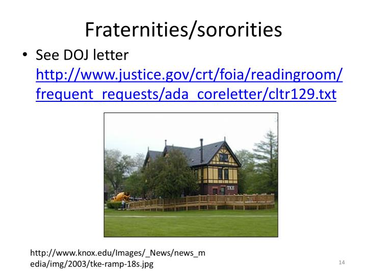 Fraternities/sororities