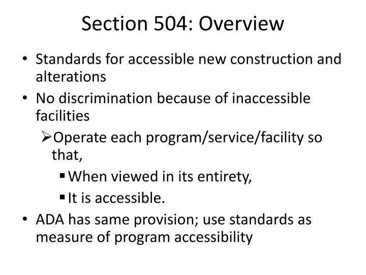 Section 504: Overview