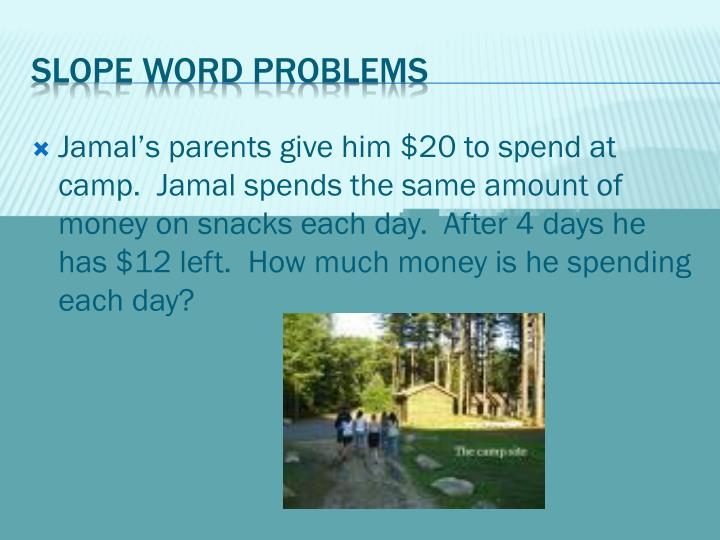 Jamal's parents give him $20 to spend at camp.  Jamal spends the same amount of money on snacks each day.  After 4 days he has $12 left.  How much money is he spending