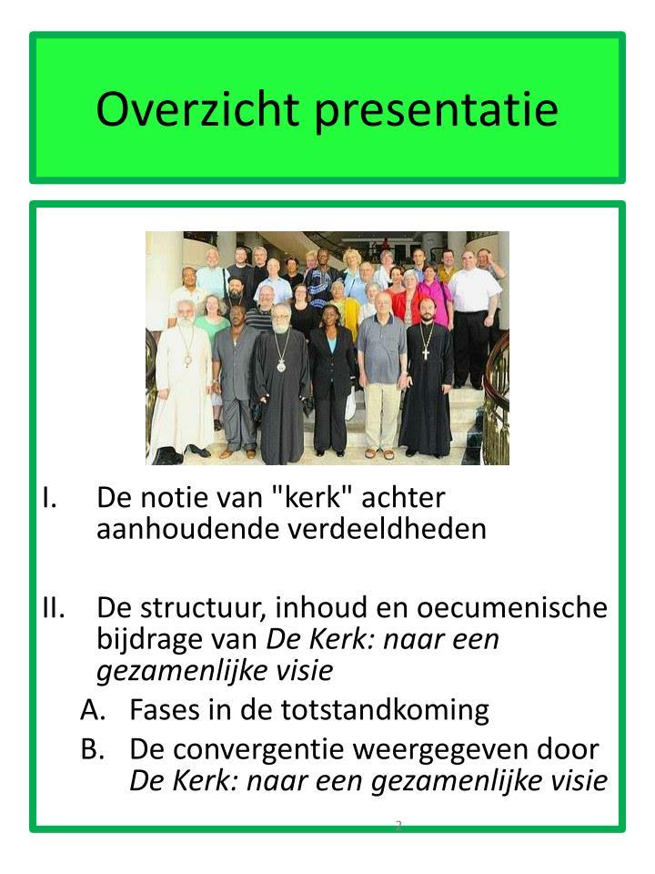 Overzicht presentatie