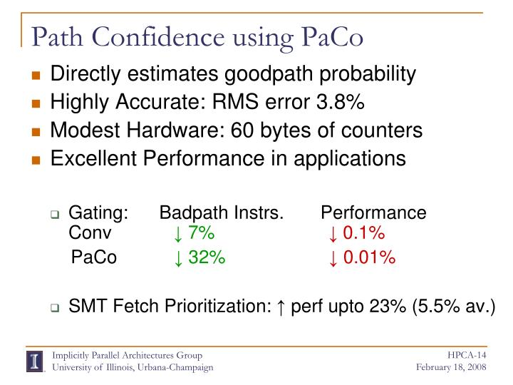 Path Confidence using PaCo