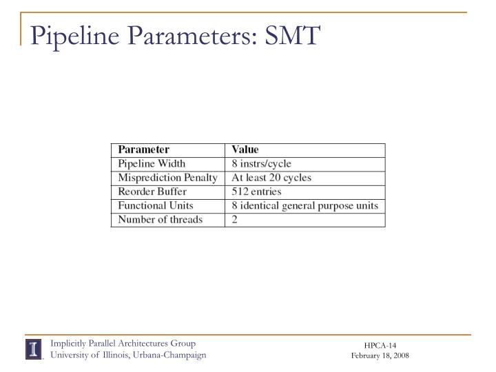 Pipeline Parameters: SMT