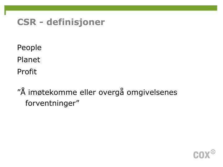 CSR - definisjoner
