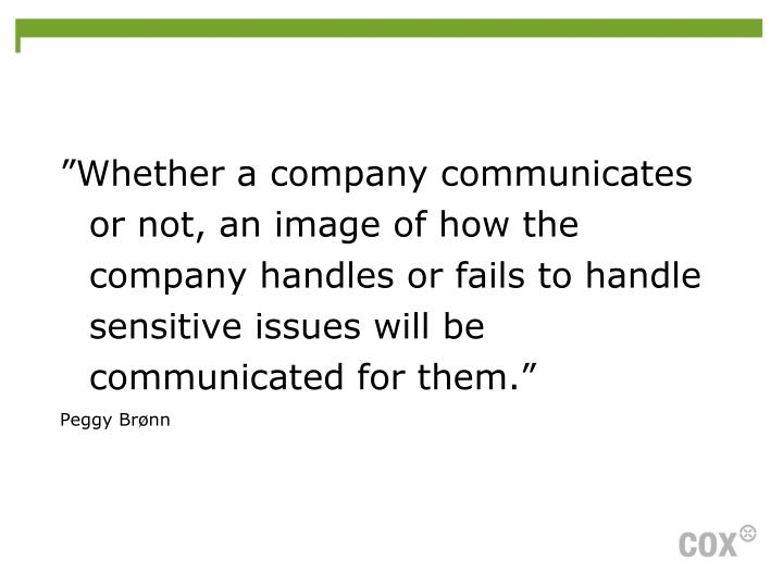 """Whether a company communicates or not, an image of how the company handles or fails to handle sensitive issues will be communicated for them."""