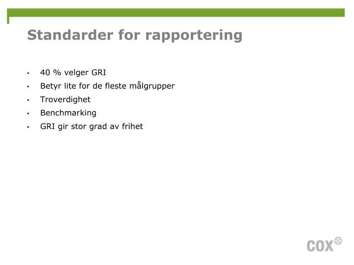 Standarder for rapportering