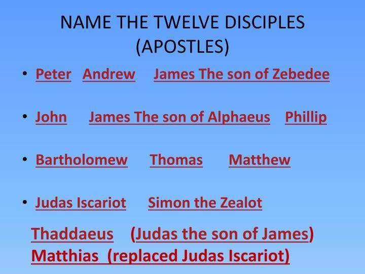 NAME THE TWELVE DISCIPLES (APOSTLES)