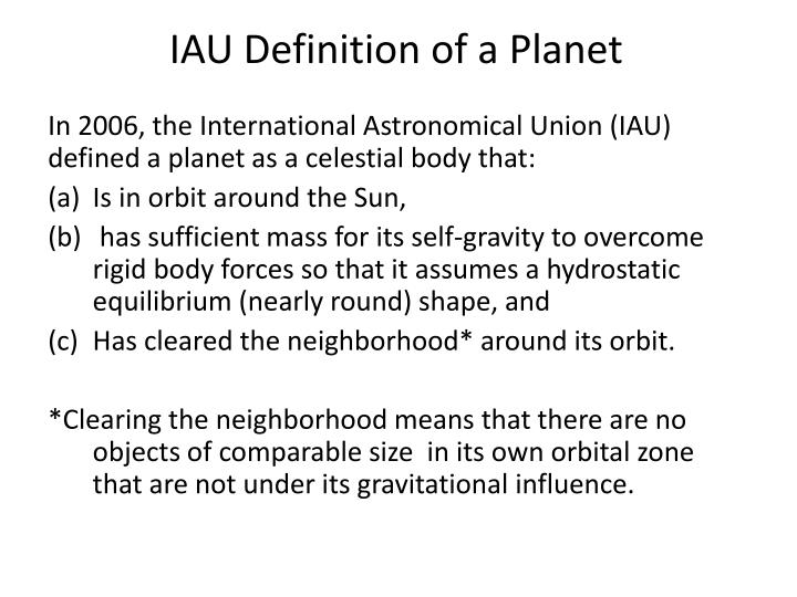 IAU Definition of a Planet