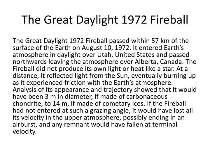 The Great Daylight 1972 Fireball