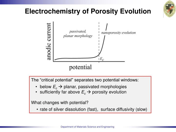Electrochemistry of porosity evolution