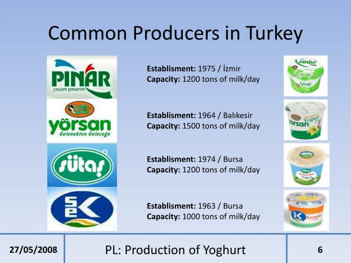 Common Producers in Turkey