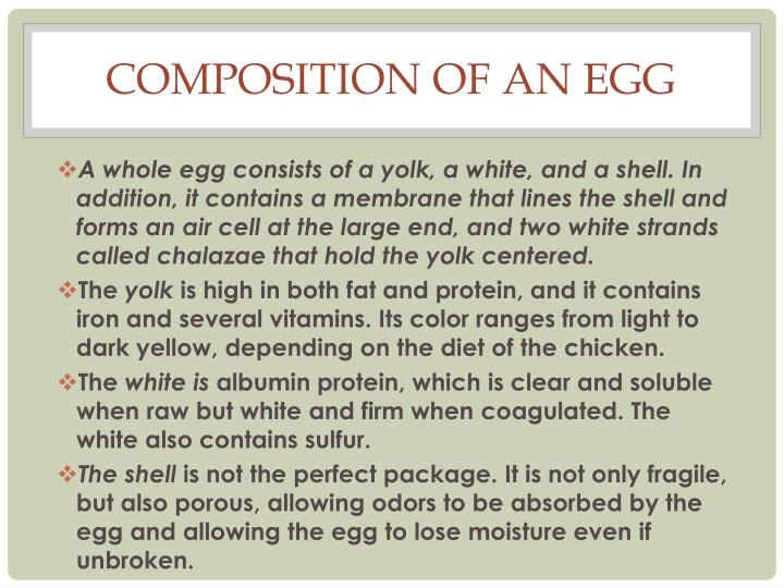 Composition of an Egg