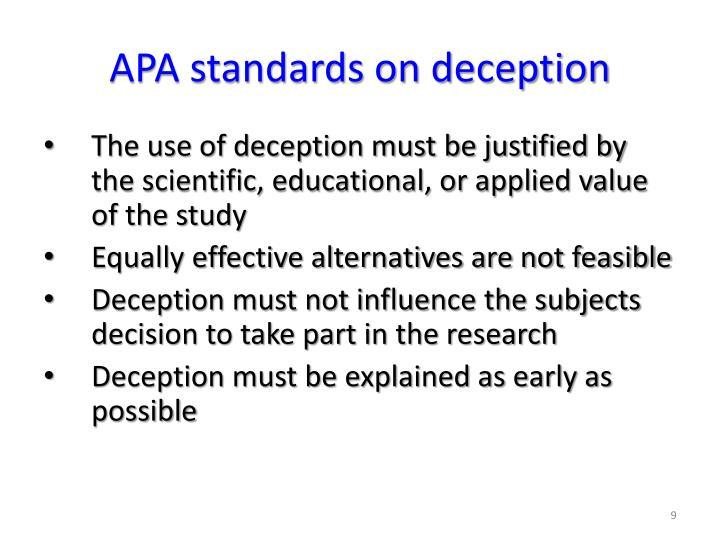 APA standards on deception