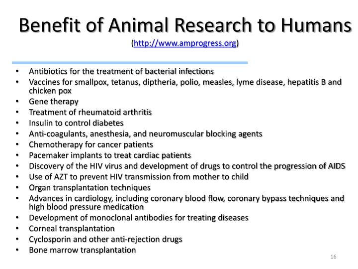 Benefit of Animal Research to Humans
