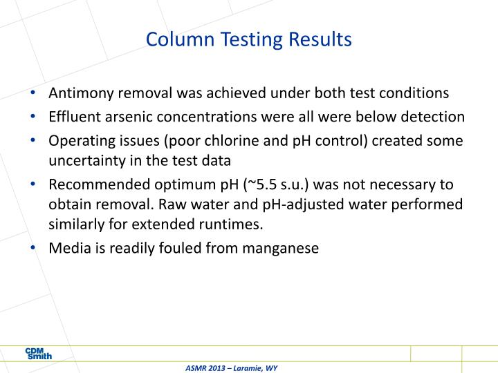Column Testing Results