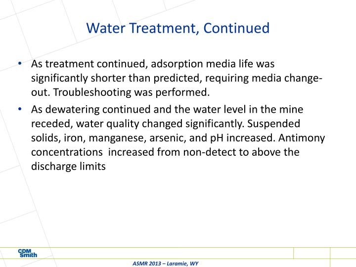 Water Treatment, Continued