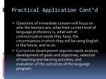 practical application cont d