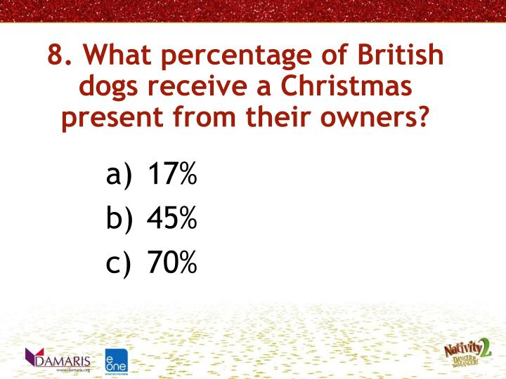 8. What percentage of British dogs receive a Christmas present from their owners