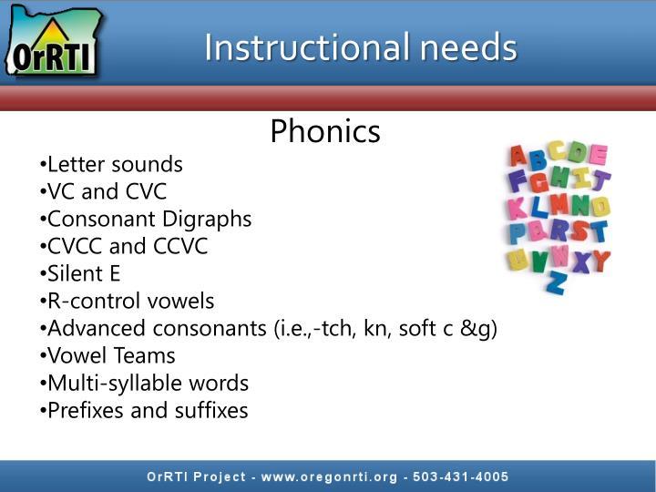 Instructional needs