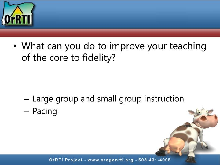 What can you do to improve your teaching of the core to fidelity?