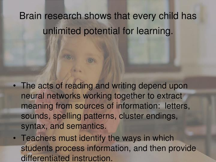 Brain research shows that every child has unlimited potential for learning.