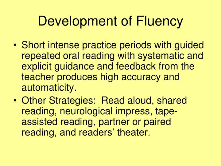 Development of Fluency