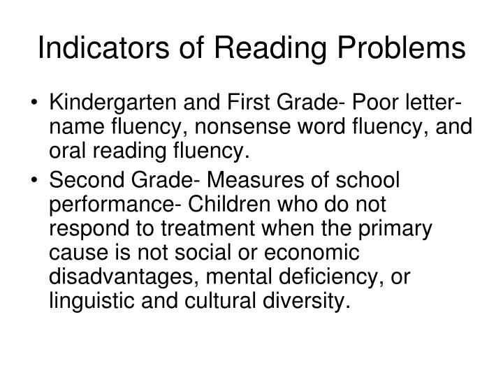 Indicators of Reading Problems
