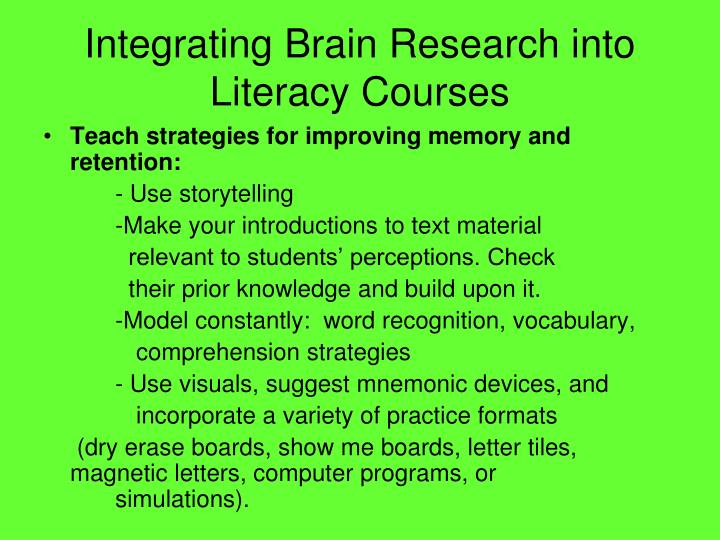 Integrating Brain Research into Literacy Courses