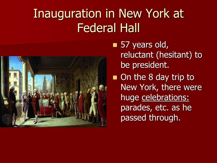 Inauguration in New York at Federal Hall