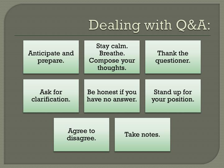 Dealing with Q&A: