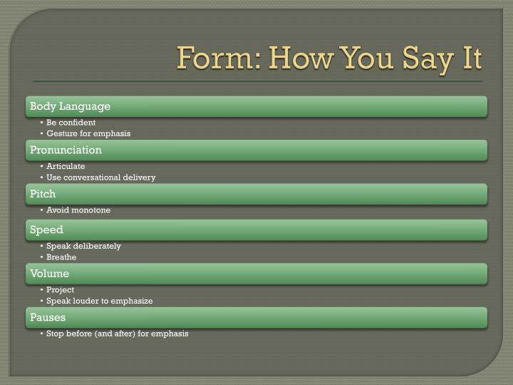 Form: How You Say It