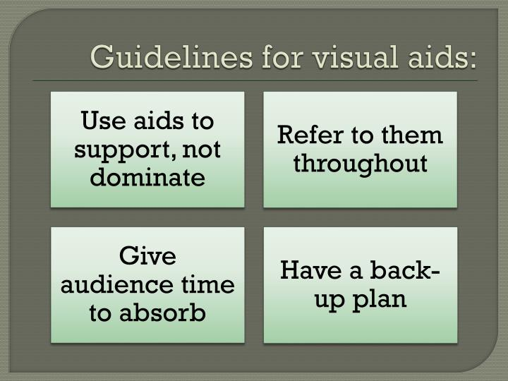 Guidelines for visual aids: