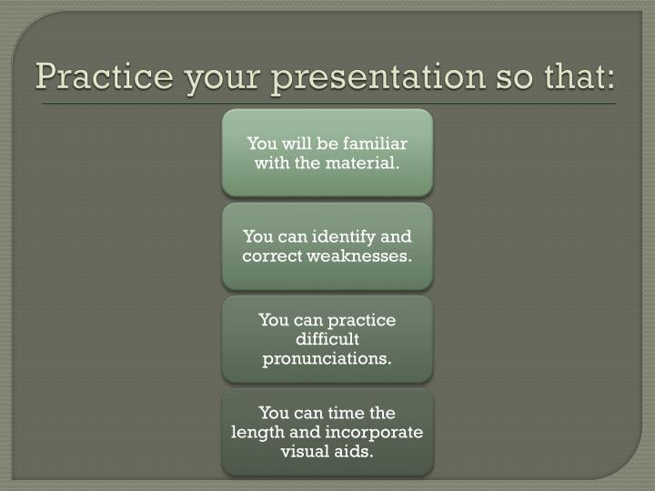 Practice your presentation so that: