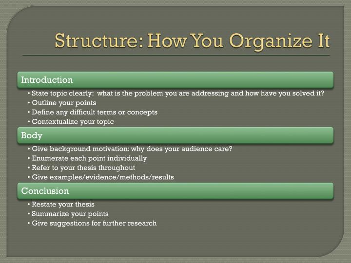Structure: How You Organize It