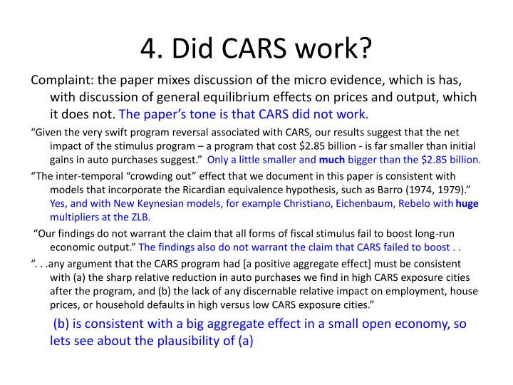4. Did CARS work?