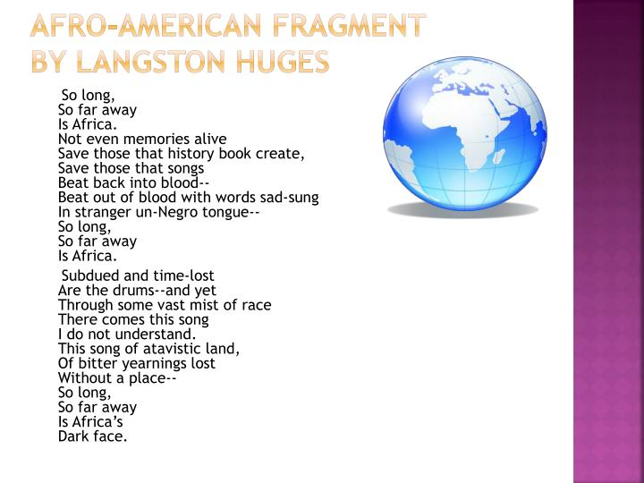 Afro american fragment by langston huges