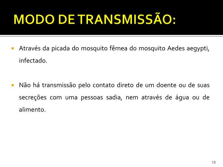 MODO DE TRANSMISSÃO: