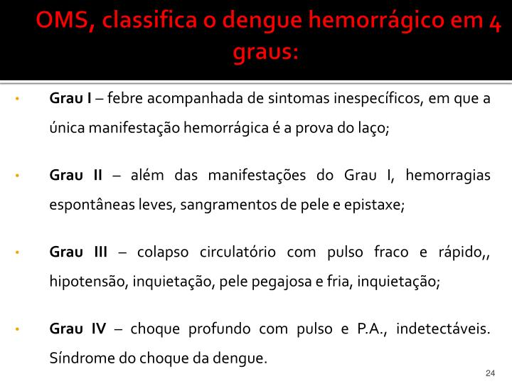 OMS, classifica o dengue hemorrágico em 4 graus: