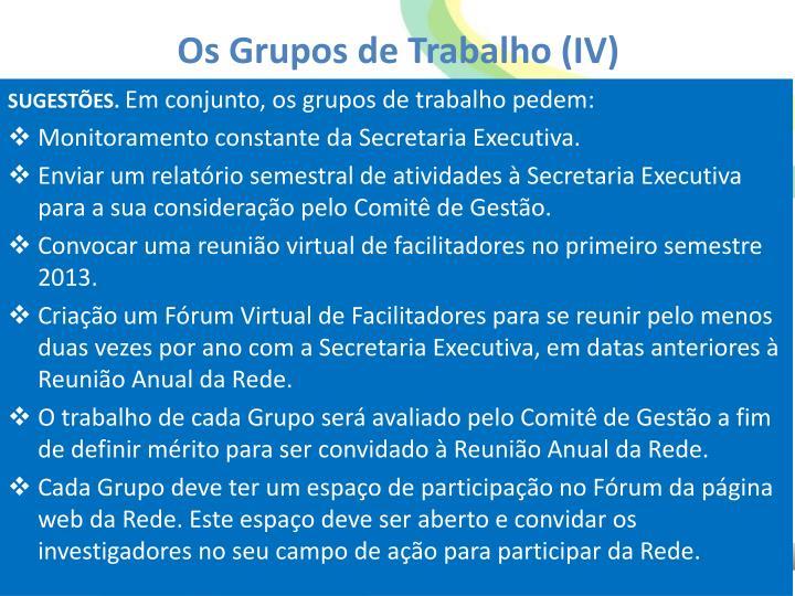 Os Grupos de Trabalho (IV)