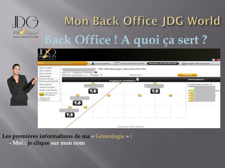 Mon Back Office JDG World