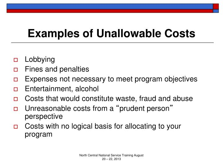 Examples of Unallowable Costs