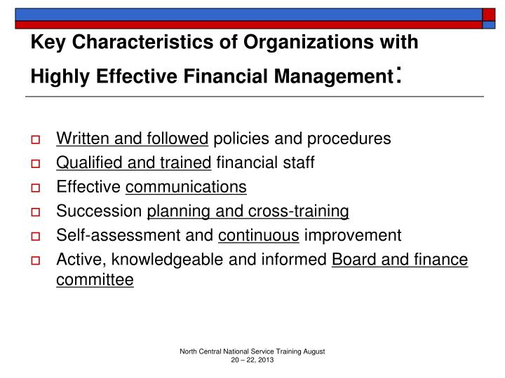 Key Characteristics of Organizations with Highly Effective Financial Management